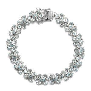 TLV Sky Blue Topaz Platinum Over Sterling Silver Bracelet (6.50 In) TGW 16.55 cts.