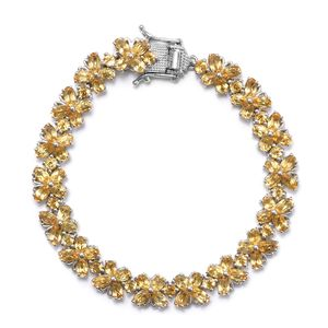 TLV Brazilian Citrine Platinum Over Sterling Silver Bracelet (7.25 In) TGW 16.15 cts.