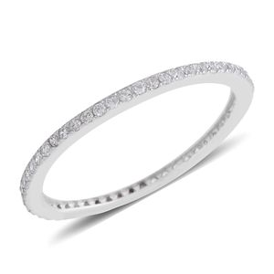Simulated White Diamond Sterling Silver Band Ring (Size 7.0) TGW 0.27 cts.