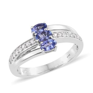 Premium AAA Tanzanite, Cambodian Zircon Platinum Over Sterling Silver Ring (Size 7.0) TGW 1.02 cts.