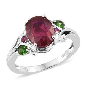 Niassa Ruby, Multi Gemstone Platinum Over Sterling Silver Leaf Ring (Size 7.0) TGW 5.63 cts.