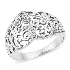 Sterling Silver Openwork Heart Ring (Size 7.0)