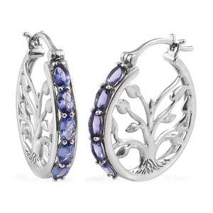 Premium AAA Tanzanite Platinum Over Sterling Silver Hoop Earrings TGW 2.30 cts.
