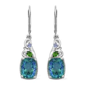 Peacock Quartz, Multi Gemstone Platinum Over Sterling Silver Earrings TGW 7.32 cts.