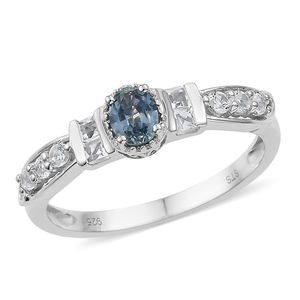 Montana Sapphire, White Topaz Platinum Over Sterling Silver Ring (Size 8.0) TGW 1.00 cts.