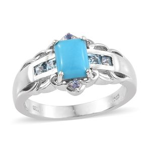 Arizona Sleeping Beauty Turquoise, Multi Gemstone Platinum Over Sterling Silver Ring (Size 7.0) TGW 1.81 cts.