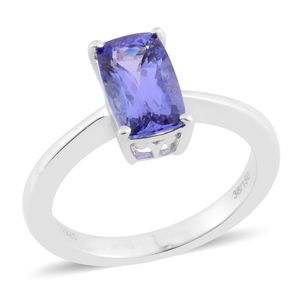 Tanzanite Platinum Over Sterling Silver Elongated Cushion Cut Solitaire Ring (Size 11.0) TGW 2.10 cts.