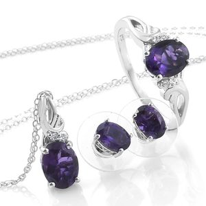 Lusaka Amethyst, Cambodian Zircon Platinum Over Sterling Silver Earrings, Ring (Size 9) and Pendant With Chain (20 in) TGW 4.67 cts.