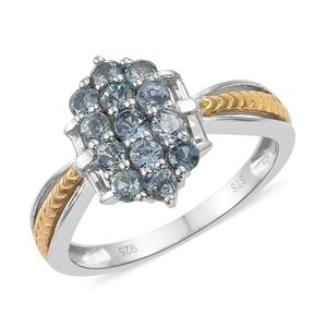 Montana Sapphire, White Topaz 14K YG and Platinum Over Sterling Silver Cluster Ring (Size 9.0) TGW 1.41 cts.