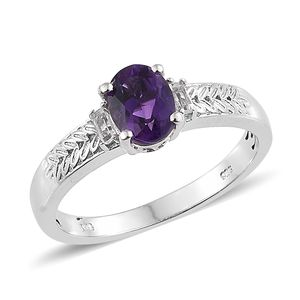 Moroccan Amethyst, White Topaz Platinum Over Sterling Silver Engraved Ring (Size 7.0) TGW 1.36 cts.