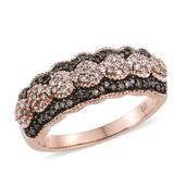 Natural Champagne and Pink Diamond Vermeil RG Over Sterling Silver Ring (Size 9.0) TDiaWt 0.50 cts, TGW 0.50 cts.