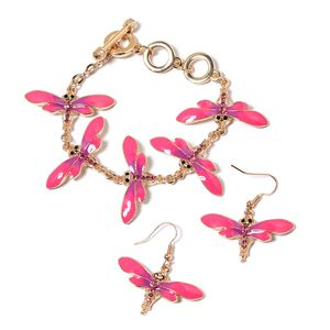 TLV Fuchsia and Black Austrian Crystal Enameled Goldtone & ION Plated YG Stainless Steel Dangle Dragonfly Earrings and Bracelet (7.00 In)