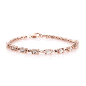 Marropino Morganite, Morro Redondo Pink Tourmaline Vermeil RG Over Sterling Silver Bracelet (7.25 In) TGW 4.00 cts.