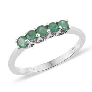 Brazilian Emerald Platinum Over Sterling Silver 5 Stone Ring (Size 5.0) TGW 0.50 cts.