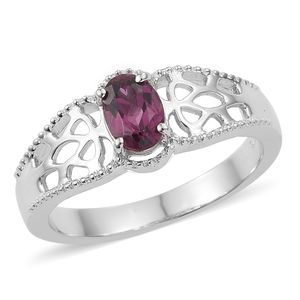 KARIS Collection - Orissa Rhodolite Garnet Platinum Bond Brass Ring (Size 7.0) TGW 1.00 cts.
