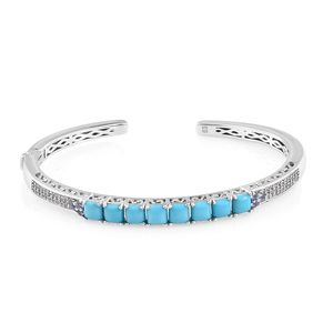 Arizona Sleeping Beauty Turquoise, Multi Gemstone Platinum Over Sterling Silver Cuff (7.25 in) TGW 4.39 cts.