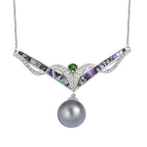 Tahitian Pearl (13-13.5 mm), Multi Gemstone Sterling Silver Necklace (18 in) TGW 0.88 cts.
