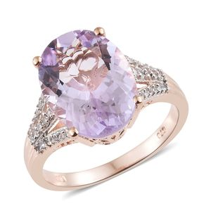 Customer Appreciation Day Rose De France Amethyst, Cambodian Zircon Vermeil RG Over Sterling Silver Ring (Size 8.0) TGW 8.74 cts.
