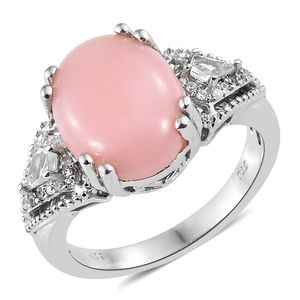 Peruvian Pink Opal, Multi Gemstone Platinum Over Sterling Silver Ring (Size 9.0) TGW 7.30 cts.
