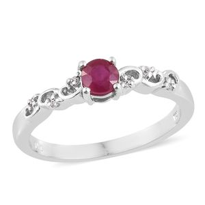Niassa Ruby, Cambodian Zircon Platinum Over Sterling Silver Ring (Size 8.0) TGW 0.83 cts.