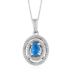 Luxury For Less Malgache Neon Apatite, Cambodian Zircon Platinum Over Sterling Silver Pendant With Chain (20 in) TGW 0.86 cts.