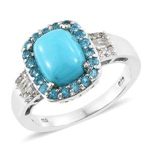 Arizona Sleeping Beauty Turquoise, Multi Gemstone Platinum Over Sterling Silver Ring (Size 7.0) TGW 3.40 cts.