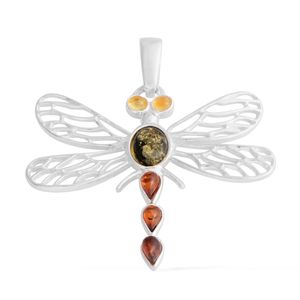 Baltic Amber Sterling Silver Openwork Dragonfly Pendant without Chain