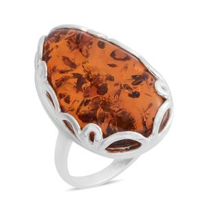 Baltic Amber Sterling Silver Ring (Size 5.0)