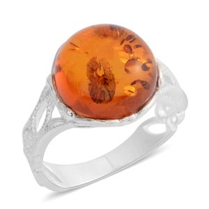 Baltic Amber Sterling Silver Openwork Solitaire Ring (Size 7.0)