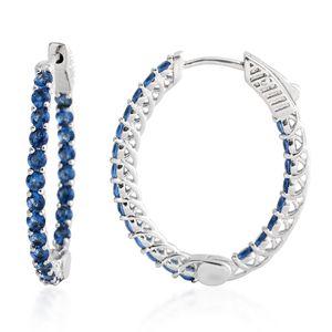 Simulated Sapphire Silvertone Hoop Earrings TGW 4.40 cts.