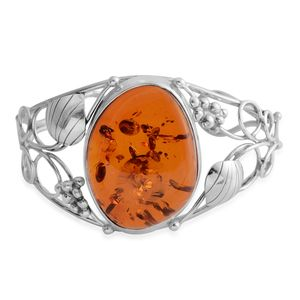 Baltic Amber Sterling Silver Openwork Cuff (6 in)