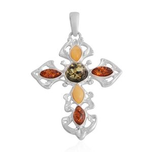 Multi Color Amber Sterling Silver Cross Pendant without Chain