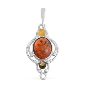 Multi Color Amber Sterling Silver Pendant without Chain