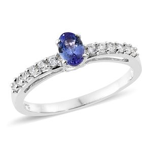 Tanzanite, Cambodian Zircon Platinum Over Sterling Silver Ring (Size 7.0) TGW 0.86 cts.