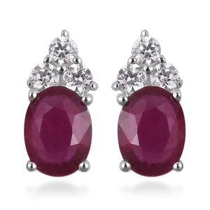 Niassa Ruby, White Zircon Sterling Silver Stud Earrings TGW 2.65 cts.
