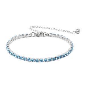 Blue Glass Stainless Steel Tennis Bracelet (7.00 In) TGW 1.20 cts.