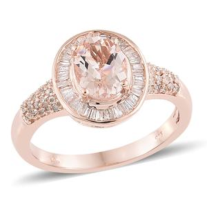 Luxury For Less Marropino Morganite, Diamond Vermeil RG Over Sterling Silver Ring (Size 10.0) TDiaWt 0.45 cts, TGW 2.00 cts.