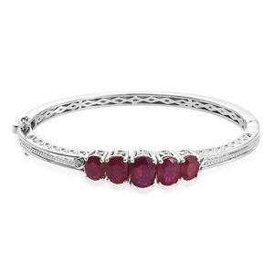 Niassa Ruby Platinum Over Sterling Silver Bangle (7.25 in) TGW 13.21 cts.