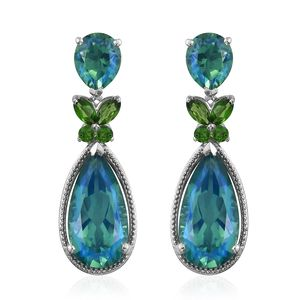 Peacock Quartz, Russian Diopside Platinum Over Sterling Silver Butterfly Drop Earrings TGW 18.36 cts.