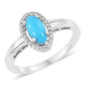 Arizona Sleeping Beauty Turquoise, Cambodian Zircon Platinum Over Sterling Silver Halo Ring (Size 10.0) TGW 1.39 cts.