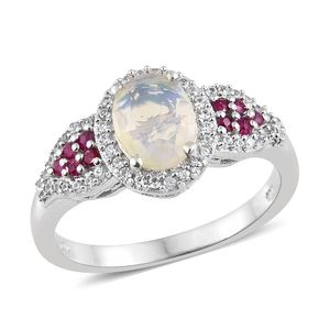 Ethiopian Welo Opal, Multi Gemstone Platinum Over Sterling Silver Ring (Size 8.0) TGW 1.82 cts.