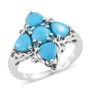 Arizona Sleeping Beauty Turquoise, Malgache Neon Apatite Platinum Over Sterling Silver Ring (Size 6.0) TGW 3.00 cts.