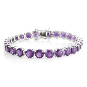 Lusaka Amethyst Platinum Over Sterling Silver Bracelet (6.50 in) TGW 24.250 Cts. TGW 24.25 Cts.