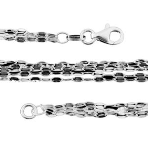 Sterling Silver Multi Strand Coffee Necklace (18 in) (4.3 g)