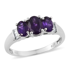 Lusaka Amethyst, Diamond Platinum Over Sterling Silver Ring (Size 7.0) TGW 1.63 cts.