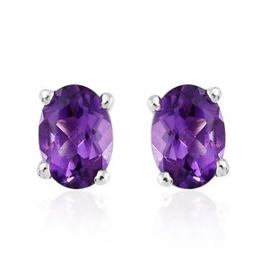 Moroccan Amethyst Platinum Over Sterling Silver Stud Earrings TGW 1.48 cts.