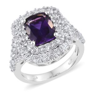 Moroccan Amethyst, White Topaz Platinum Over Sterling Silver Split Cluster Ring (Size 8.0) TGW 5.78 cts.