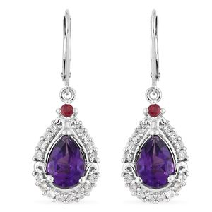 Moroccan Amethyst, Multi Gemstone Platinum Over Sterling Silver Lever Back Earrings TGW 4.65 cts.