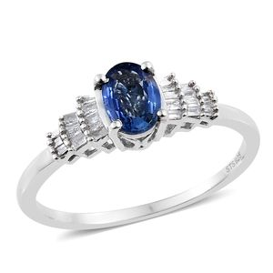 Luxury For Less Ceylon Blue Sapphire, Diamond Platinum Over Sterling Silver Ring (Size 6.0) TDiaWt 0.12 cts, TGW 1.02 cts.