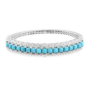Arizona Sleeping Beauty Turquoise Platinum Over Sterling Silver Bangle (7.25 in) TGW 8.16 cts.